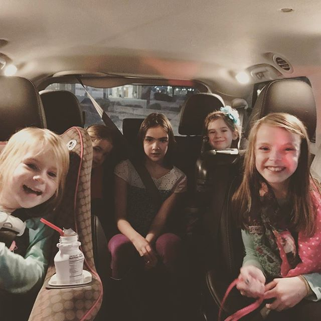 Thankful for great friends to help my crew get to church tonight!! Fun times with 5 amazing girls! Thank you, Heather for being our ride!!
